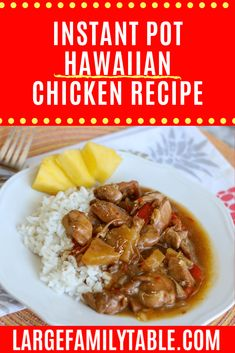 hawaiian food recipes This Instant Pot Hawaiian Chicken is like a flavor party in your mouth. Serve over rice with a slice of pineapple for fun luau theme. Easy Chicken Recipes, Crockpot Recipes, Cooker Recipes, Delicious Recipes, Large Family Meals, Pressure Cooking Recipes, Hawaiian Chicken, Hoisin Sauce, Instant Pot Pressure Cooker