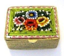 Vintage Pill Box Multi-Color Micro Mosaic Flowers Italy 1960s | VintageGlassGarden - Bath & Beauty on ArtFire