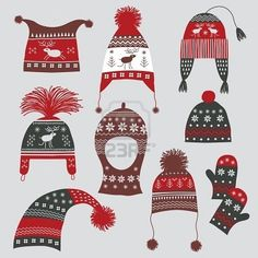 A vintage Scandinavian Christmas card featuring Nordic hats!