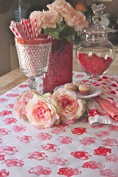 Rooted In Thyme: Rose printed Valentine table runner using paper, celery, and paint.
