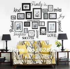 Free Shipping wall stickers home decor - FAMILY IS Vinyl Lettering Words Wall Art Quote Sticky Decals ,f1001