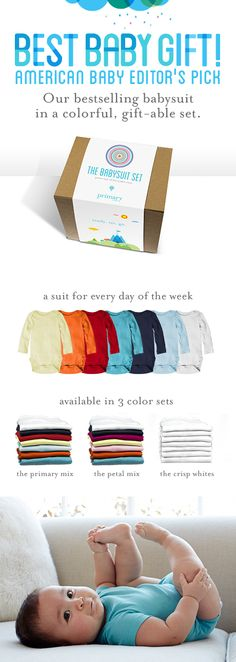 The perfect baby shower gift. Fun, colorful, and packaged for gift-giving. Our best-selling babysuits are something parents actually need. In super soft pima cotton at a great value. Only $50 for 7 short sleeve babysuits. Or $60 for 7 long sleeve babysuits. Welcome to Primary!