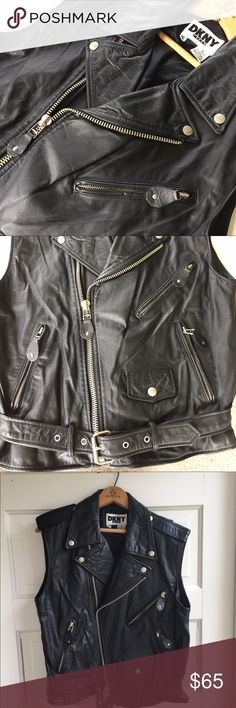 Vintage DKNY leather moto-vest Clean like new has a pocket inside jacket too! Jackets & Coats Vests