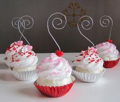Items similar to Fake Cupcake Valentines Day Heart Collection Mini Cupcake Photo/ Name/ business card Holders Set of 5 on Etsy Cupcake Bath Bombs, Cupcake Soap, Paper Cupcake, Christmas Crafts For Kids, Diy Christmas Ornaments, Christmas Candy, Christmas Bulbs, Fake Cupcakes, Fake Cake