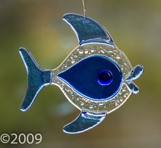 Stained Glass Fused Teardrop Bubble Fish.