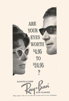 b8edf661a66 VINTAGE RAY-BAN Ad - Mid Century Ad - Retro Sunglasses Ad