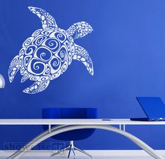 Large Sea Turtle  - Vinyl Wall Art - FREE Shipping - Fun Under Sea Wall Decal - by showcase66 on Etsy