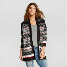 Merona cardigan Merona cardigan, long sleeve, soft and comfy, sz small,  nwt. Black,  red, white. (Price is firm) Merona Sweaters Cardigans