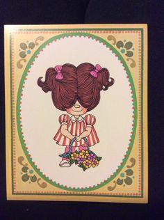 Drawing Board Little Loveables Vtg Notecard Anne Wingert Girl Hair Flower Set 7
