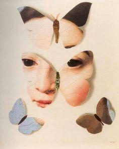On voit 4 papillons bien placé surtout dans les deux du haut, on peut voir le visage de quelqu'un séparer sur les deux. Il y a un papillon dans le bas bleu pale et l'autre brun. Ils sont installer sur un fond très pale de couleur peau. Cela m'évoque le calme et l'interrogation puisque on dirai un enfant qui est dans un casse-tête...C'est très spécial.