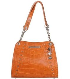 Harley-Davidson� Women's Leather Croco Orange Shopper Bag Purse. Studs. Hanging Charms. OC4450L-ORG $179.95