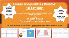 """""""The mission of Common Core Math Solutions is to create engaging, highly effective resources for the math classroom""""Designed for Algebra I/8th grade students, this bundle purchase includes EVERYTHING you need to teach linear inequalities.Lesson #1  The Difference between Equations & Inequalities (Slides 2-19)Lesson #2  Solving One Step Inequalities (Slides 20-44)Lesson #3  The Golden Rule of Inequalities (Slides 45-48)Lesson #4  Solving Two Step Inequalities (Slides 49-62)Lesson#5  Solvin..."""