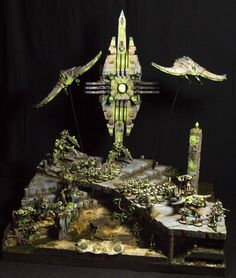 40K Necron Army from Games Day Germany. I really like the inverted wings on the Doomscythes