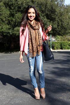 cute cute cute! Love the coral blazer with the cheetah scarf!