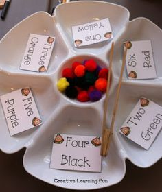 Love this simple fine motor task!  How many ways could we change this up to make different tasks?  Lots of variations come to mind! ;) Fine Motor / Color and Number Sight Word Activities - Creative Learning Fun