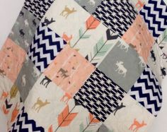 Baby Quilt Modern Woodland Beach Elk Deer Turquoise by CoolSpool