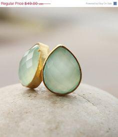 WINTER SALE Aqua Chalcedony Teardrop Stud Earrings  by OhKuol, $41.65