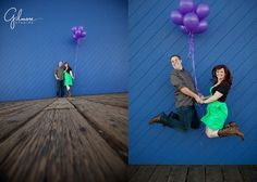Engagement Photography Session ~ Santa Monica Pier & LACMA, Beach, love, she said yes, save the date, balloons, cowboy boots, green dress, cute outfits, purple, cool colors, creative, cute, jump, ferris wheel, game booths, carnival, boat, sand, water, waves, sunset, silhouettes, beauty, kiss, lights, roller coaster, Los Angeles County Museum of Art, urban lights, formal, night, GilmoreStudios.com