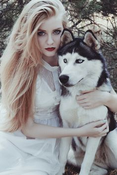 Stock photo of Portrait of a beautiful young woman and husky by jovanarikalo Animals Beautiful, Cute Animals, Baby Animals, Wolves And Women, Amor Animal, Fantasy Photography, Wolf Girl, Love Pet, Beauty And The Beast