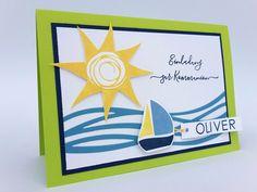 ...hat sich heute eine Einladung zur Kommunion! In frischen Farben und kindlich gestaltet präsentiert sich die Karte. Überwiegend zum Ein...