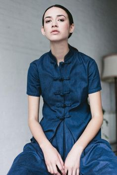 Such a cool take on the denim button-down. #etsyfashion