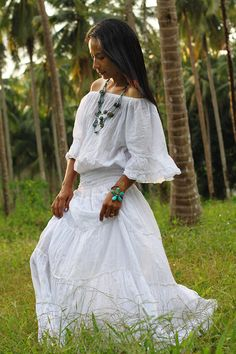 Maxi Dress Long Sweetie Boho Cotton Gown  Exotic by Nuichan, $52.00