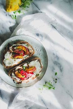 HERBED RICOTTA & PARMESAN SPREAD WITH ROASTED PEACH ON SOURDOUGH TOAST