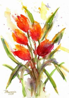 Watercolor Red Tulip as PDF or command the OOAK hand-painting Watercolor Red, Watercolor Flowers, Watercolor Paintings, Red Tulips, Art Studies, Watercolours, Graphite, Colored Pencils, Planting Flowers