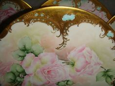 Magnificent Set of 4 Limoges France Plates - Hand Painted - Pink Roses - Stunning Gilded Borders - Blue Jewel Accents - Dated 1902
