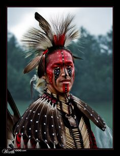 Algonquin native in full ceremonial dress; Look!!! I always wanted to marry an Indian! Dave never looks good in this much of my make-up.  Yeah, it must be he is only 1/32 of native american.
