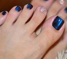 Blue-Rhinestone Toe Nail Art Magnetic polish