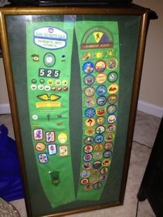 Girl Scout sash...great idea!  We need to do this our last year of Brownies with our sashes! @Beth Passmore Scanlan