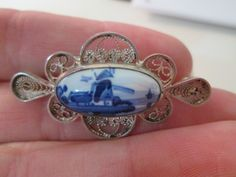 Very Unique Sterling Silver Vintage Filigree Pin Brooch with Ceramic Delfts Blue Windmill Scene