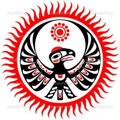 Mythological image eagle and sun, eagle totem Native American Totem, Native American Symbols, Native American Design, American Indian Art, American Indians, Native Design, American History, Haida Tattoo, Arte Haida