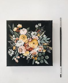 Black Background Painting, Painting On Black Canvas, Mini Canvas Art, Small Canvas Art, Painting Inspiration, Art Inspo, Acrylic Art, Acrylic Painting Flowers, Art Sketches