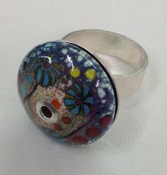 Lampwork glass bead silver ring