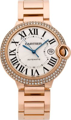 "Cartier Rose Gold & Diamond ""Balloon Bleu"" Large Automatic Wristwatch."