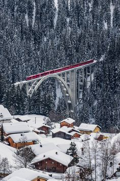 Rhätische Bahn on the Viadukt of Langwies, Graubünden, Switzerland