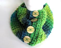 Green and Blue Striped Button Cowl