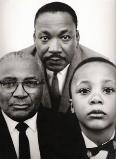 Martin Luther King, Jr with his father and son, Atlanta, Georgia, March 22, 1963.  Photo by Richard Avedon.