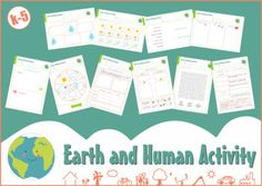 """Worksheets about Earth and Human Activity: 1. A """"Color, cut and glue"""" activity about living beings and their habitats + Key; 2. A """"Color, cut and glue"""" activity about the relationship between the needs of living beings and their habitats + Key; 3. Daily record of the weather"""