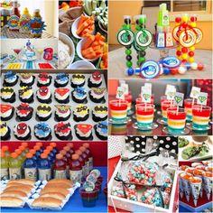 superhero birthday party food and dessert ideas Avengers Birthday, Batman Birthday, Superhero Birthday Party, 6th Birthday Parties, Birthday Ideas, 3rd Birthday, Batman Party, Festa Pj Masks, Childrens Party