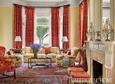 New Living Room Red Curtains Fireplaces Ideas Living Room Decor Yellow Walls, Living Room Red, Living Room Colors, Living Room Paint, Formal Living Rooms, Living Room Designs, Red Curtains Living Room, Bedroom Designs, Traditional Decor