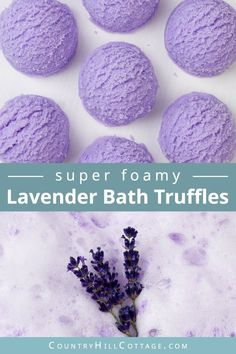 Learn how to make DIY lavender bubble bath bars scoops for a spa experience! Made with essential oils, citric acid, baking soda, moisturising cocoa butter, coconut oil and an ice cream scoop… Bubble Bath Bomb, Lush Bath Bombs, Bubble Baths, Bath Bubbles Diy, Lavendar Bath Bombs, Natural Bath Bombs, Fizzy Bath Bombs, Bubble Bar Recipe, How To Make Bubbles
