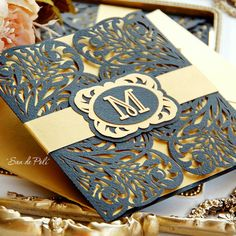 Wedding stationery invitation Art Deco Nouveau Pattern Card Templates SVGfiles Lace folds (svg, dxf, ai, eps) papercut lasercut Cameo Cricut