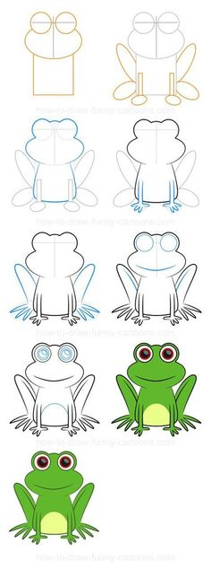 Cartoon Drawing Techniques How to draw a frog (Step-by-step) - Step-by-step drawing lessons featuring farm animals. Frog Drawing, Drawing For Kids, Art For Kids, Drawing Ideas, Kids Drawing Lessons, Drawing Drawing, Animal Drawings, Pencil Drawings, Directed Drawing