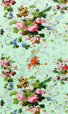 antique french illustration roses and lilac flowers wallpaper.