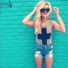Bro Tank Cross. Light Denim Shorts. Teen Fashion.  By-Iheartfashion14 ♥ follow