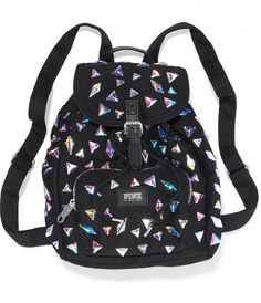 Victoria's Secret PINK black boho style BackPack with silver triangles all over