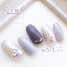 All Season / Office / Date / Women's Association / Hand-Yuuka. Pastel Nails, Purple Nails, Bling Nails, Acrylic Nails, Love Nails, Pretty Nails, My Nails, Korean Nail Art, Kawaii Nails